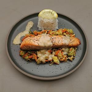 Dos de saumon rôti au beurre d'herbes