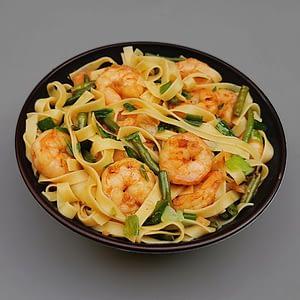 wok de tagliatelles aux crevettes